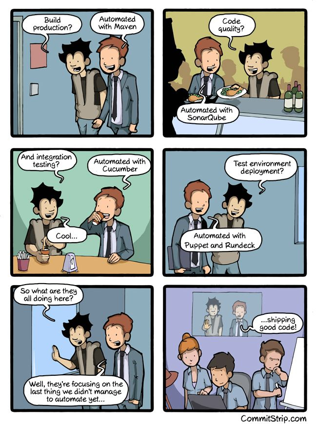 6 panel comic of two programmers talking. First four panels one is asking the other about different aspects of software development, and the other responding with technolgies they've used to automate those aspects. Last two panels is the questioner asking